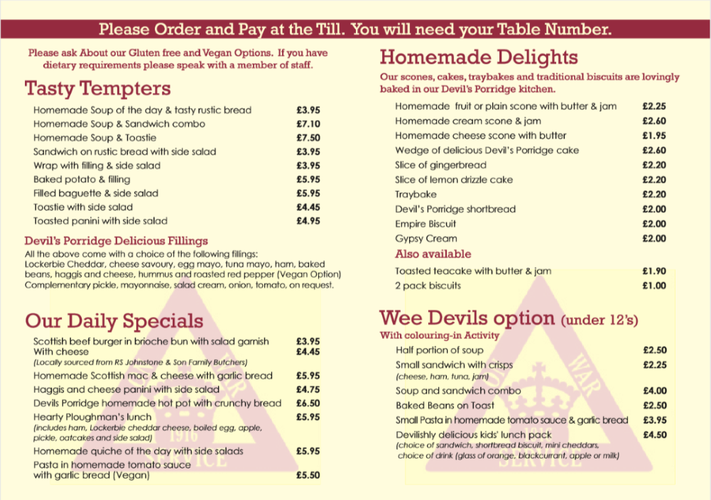 The Devils Porridge New Menu