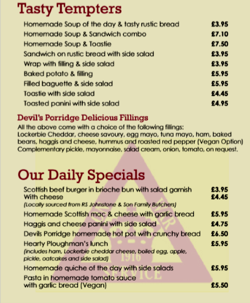 devils porridge museum menu