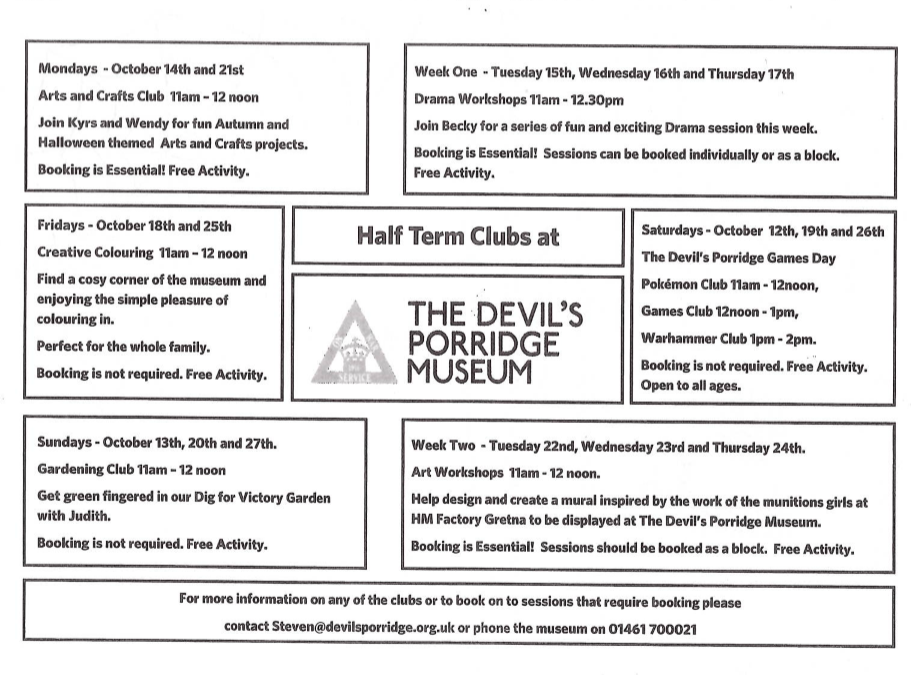 Half Term Clubs at The Devils Porridge Museum