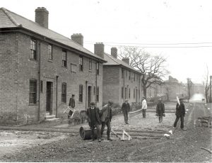 Hostel being built by navvies
