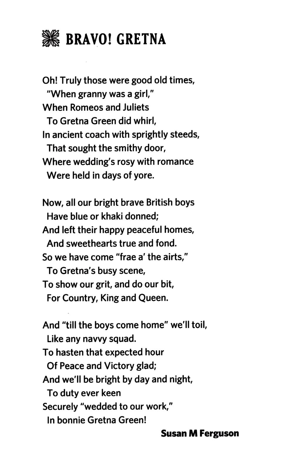 bravo gretna poem